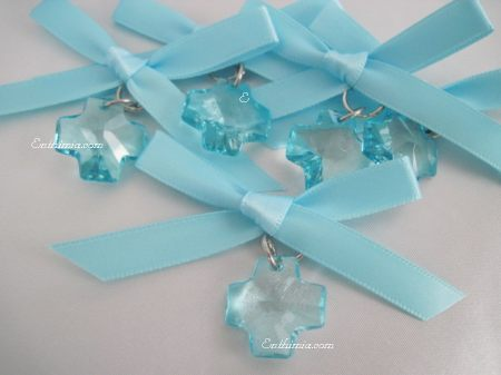 28B.  Boy Witness Pins with Dazzling Blue Faceted Cross