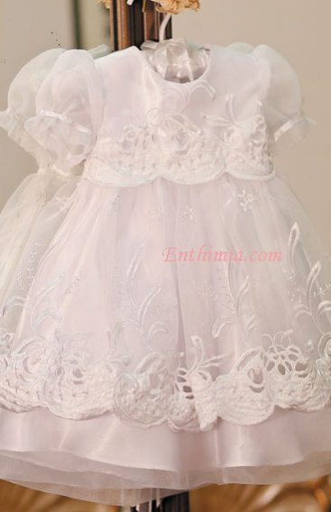 Dress with Embroidered Organza Overlay - White