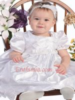 Embroidered Satin Dress with Bow Detail On Waist - White