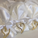 51-White Satin with Gold Heart Greek Favor