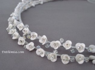 No. 386.  Porcelain Open Roses and Swarovski Crystals
