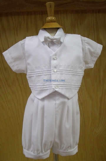 384.  Boy's 4 Piece Pleated Baptism Suit