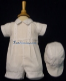 792. White Baptism Romper with Matching Hat